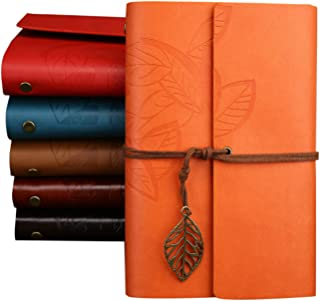 Elonglin Journal Diary Vintage Leaf/Corsair PU Leather Spiral Blank String Daily Notepad Unlined Paper Retro Pendants Clas...