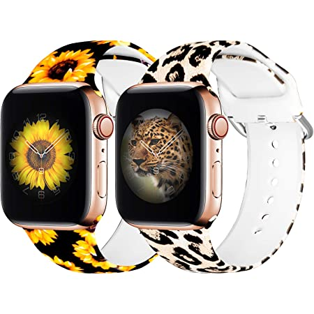 eseekgo [2 Pack] Compatible with Apple Watch Band 38MM 40MM Women Men, Sport Silicone Fadeless Cheetah Floral Printed Pattern Replacement Bands for iWatch Series 3 6 5 SE 4 2 1, Leopard+Sunflower