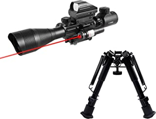 Pinty Rifle Scope 4-12x50EG Rangefinder Mil Dot Tactical Reticle Scope with Laser Sight and Red Dot Sight & Rifle Tactical...
