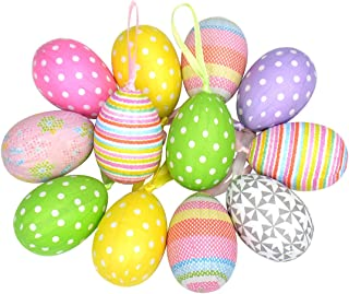 Gardening Will 12pcs New Colorful Paper Mache Egg Hanging Ornaments Easter Christmas Decoration