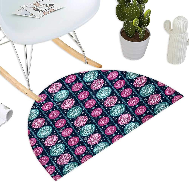 Xmas Semicircular Cushion Festive Celebration Pattern with greenical Borders Pink bluee Floral Circles Bathroom Mat H 51.1  xD 76.7  Dark bluee Teal Pink