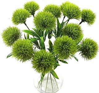 Yalulu 10 Pcs Dandelion Artificial Flowers Plants Bouquet Plastic Flower for Home Decoration/Wedding Decor (Green)