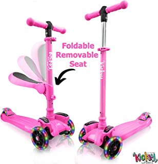 Kicsky Wheels Scooters for Kids with Seat Folding and Removable - 3 Wheel Toddler Scooter for Boys & Girls - Toddlers and Kids Toys for 2 Year Old and Up - Three Heights & Light Up Wheels
