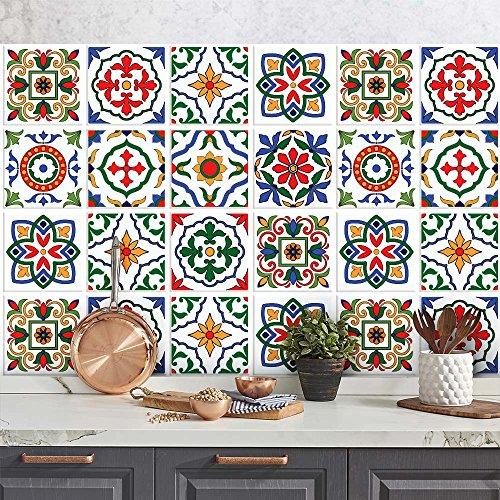 wall-art 25 Fliesenkleber Format 20x20 cm - PS00032 Aufkleber PVC für Fliesen für Bad und Küche Stickers Design - Ungarische Fantasie