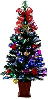 クリスマスツリー ファイバー セットツリー 四角ポット付 Moda レッド LEDファイバー セット 90cm