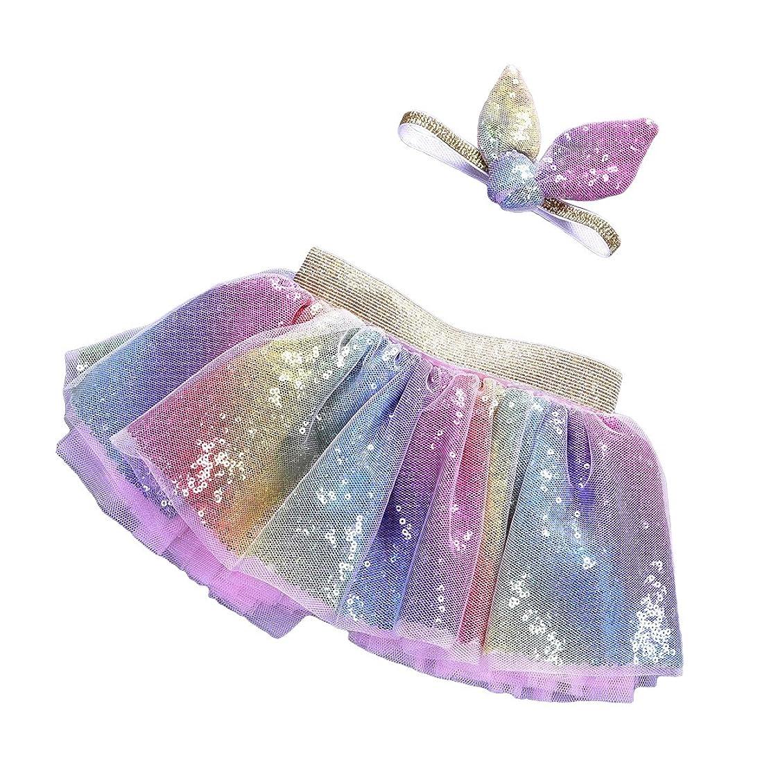 め言葉熟す突然LUOEM 2PCSレインボーツツースカート(ヘッドバンド付き)プリンセスガールツツーの服装ベビーガールズ誕生日の服セットサイズM(2?5歳)
