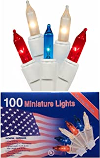 Nantucket Home Patriotic 100 Mini Lights Red White and Blue Indoor Outdoor Use Decoration