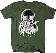Retro Melting Skull Gas Mask Goth Rock Hardcore Graphic T Shirt for Men