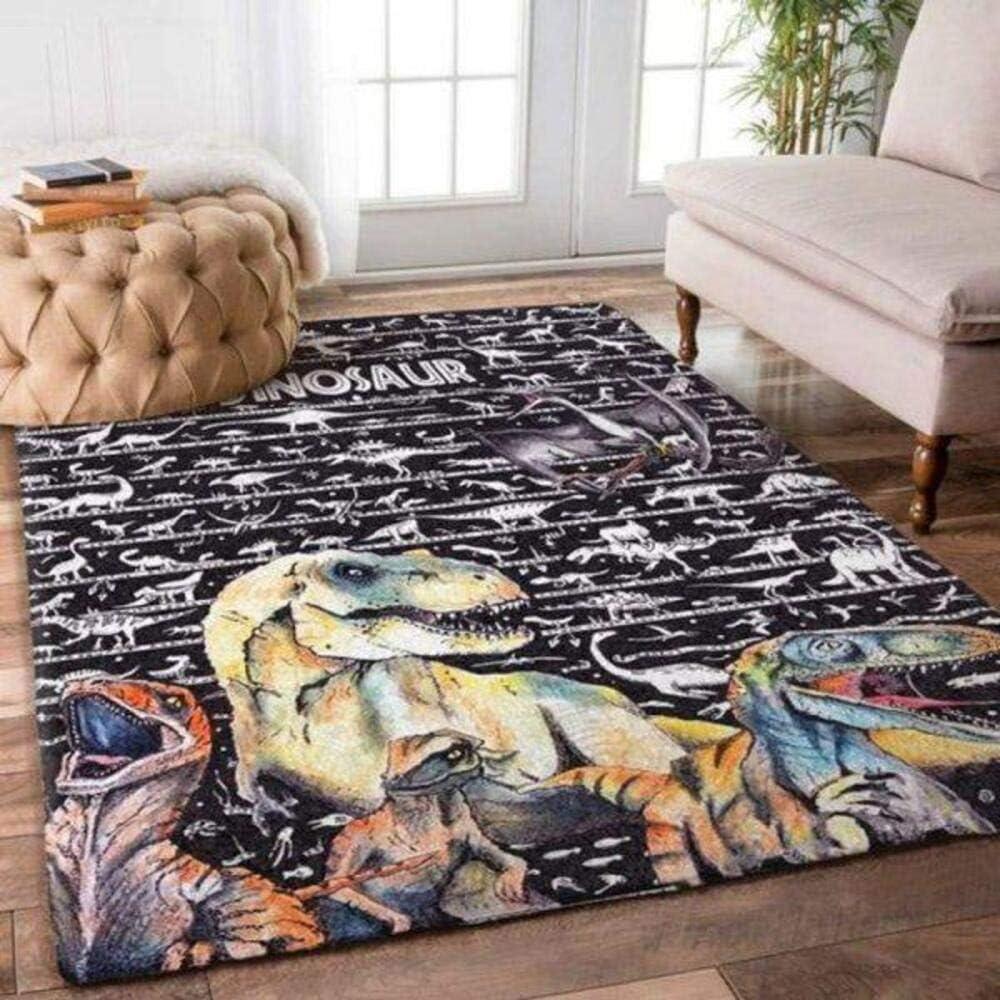 Awesome マーケティング Dinosaur World Home Rectangle Rug Area 中古 Decor