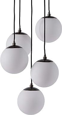 Amazon Brand – Rivet Eclipse Mid Century Modern 5-Globe Hanging Ceiling Pendant Chandelier Fixture - 20 x 20 x 48 Inches, Bla