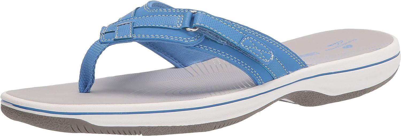Clarks Women's Breeze Sea Flip-Flop, Blue Synthetic, 11