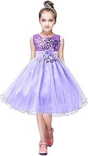 Girls Flower Sequin Princess Dress Sleeveless Tutu Tulle Birthday Party Dress