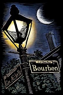 New Orleans, Louisiana - Bourbon Street Lamppost - Scratchboard (9x12 Art Print, Wall Decor Travel Poster)