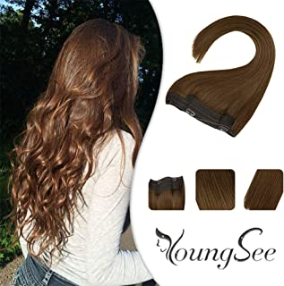 Youngsee Chestnut Brown Halo Real Hair Extensions Human Hair 14inch 80G Remy Hidden Crown Hair Halo Extensions Double Weft Human Hair Piece For Women