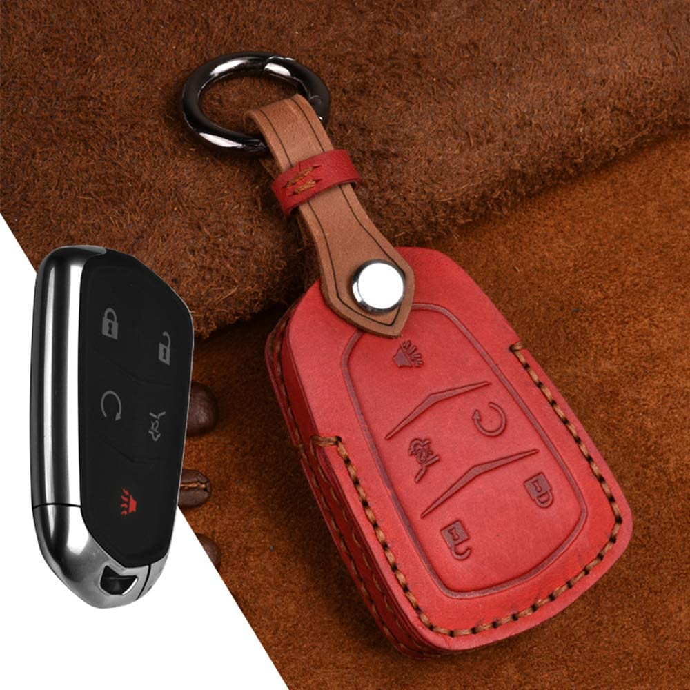 XITER For CADILLAC Key Fob Cover,Keyless Entry Remote Cover Genuine Leather Key Fob Case Compatible with Cadillac ESV Escalade GTS CTS STS XTS SRX ATS XT5 CT6 BLUE