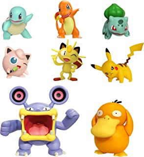 "PoKéMoN Battle Action Figure Multi 8 Pack - Comes with 2"" Pikachu, 2"" Bulbasaur, 2"" Squirtle, 2"" Charmander, 2"" Meowth, 3"" Loudred, and 3"" Psyduck"