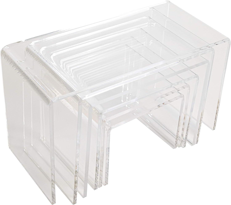Set of 6 Clear Acrylic Nesting Display Risers 7-1/2″ L x 4Ã