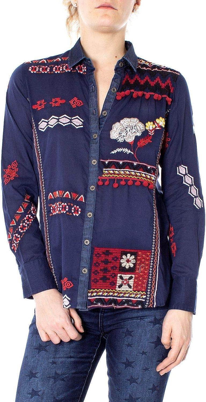 Desigual Women's 19SWCW45blueE bluee Cotton Shirt