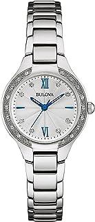 Bulova - 96R208 Reloj de pulsera de acero inoxidable con 26 diamantes para mujer