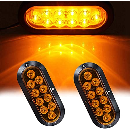 6 Oval Amber Mid-Turn LED Trailer Light w//Reflector Colored Lens IP67 Waterproof Semi Truck Sealed Turnlight Grommet /& Plugs Included 9 Bright LEDs DOT Approved Truck Park Turn Signal Lights