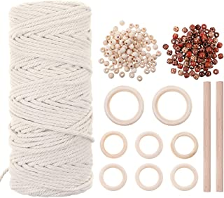Jeteven Macrame Cord 3mm 109 Yadrs Natural Macrame Rope 111pcs Handmade Cotton Rope Kit Wall Hangings Home Decor DIY for P...