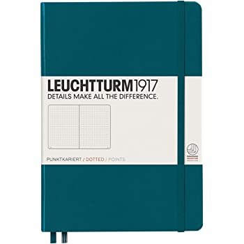 Leuchtturm1917 Medium A5 Dotted Hardcover Notebook (Pacific Green) - 249 Numbered Pages, 359696