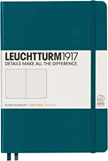 Leuchtturm1917 Medium A5 Dotted Hardcover Notebook (Pacific Green) - 249 Numbered Pages