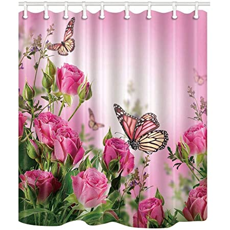 """Flower Butterfly Decor Shower Curtain Butterflies And Spa Home of Spring Theme Zen Floral House Polyester Fabric Bath Room 69""""X70""""Inches - SZDR"""
