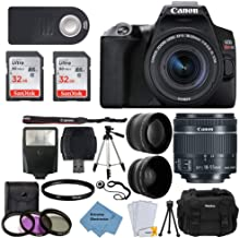 $644 » Canon EOS Rebel SL3 Digital SLR Camera (Black) + EF-S 18-55mm f/4-5.6 is STM Lens + 58mm 2X Professional Telephoto & 58mm Wide Angle Lens + 32GB Memory Card + Tripod + More+ Extreme Electronics Cloth