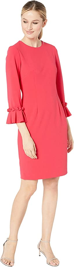 3/4 Sleeve Crepe Sheath with Sleeve Detail