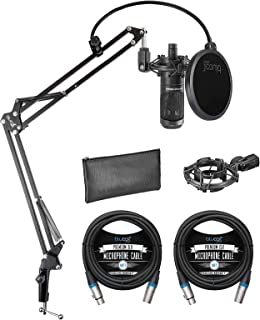 Audio Technica AT2035 Cardioid Condenser Microphone Bundle with Blucoil Boom Arm Plus Pop Filter, and 2-Pack of 10-FT Bala...