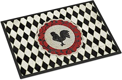 """Caroline's Treasures Rooster Harlequin Black and White Indoor or Outdoor Mat, Multicolor, 18"""" x 27"""""""