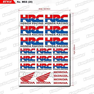 Kungfu Graphics HRC Micro Sponsor Logo Racing Sticker Sheet Universal (7.2x 10.2 inch), Red Blue