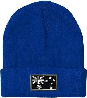 Black White Australia Flag Embroidered Unisex Adult Acrylic Beanie Winter Hat - Royal Blue, One Size