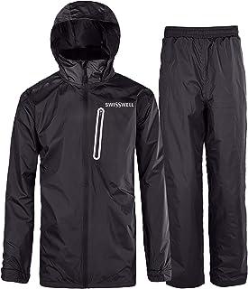 SwissWell Men's Rain Suit Hooded Raincoat Waterproof Jacket/Trouser Rainwear Snowcoat Ski Jacket/Pants