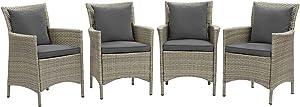 Modway EEI-4028-LGR-CHA Conduit Outdoor Patio Wicker Rattan Dining Armchair Set of 4, Light Gray Charcoal