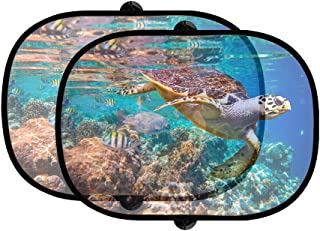 Hawksbill Sea Turtle E Imbricata 2Pcs Foldable Auto Window Sunshade Mesh