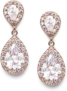 Cubic Zirconia Teardrop Bridal Earrings, Rhinestone Dangle Earrings for Wedding Prom Anniversary