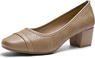 CINAK Ashley Comfort Pumps Chunky Heel Slip-on Women's Casual Square Toe Walking Classic Shoes