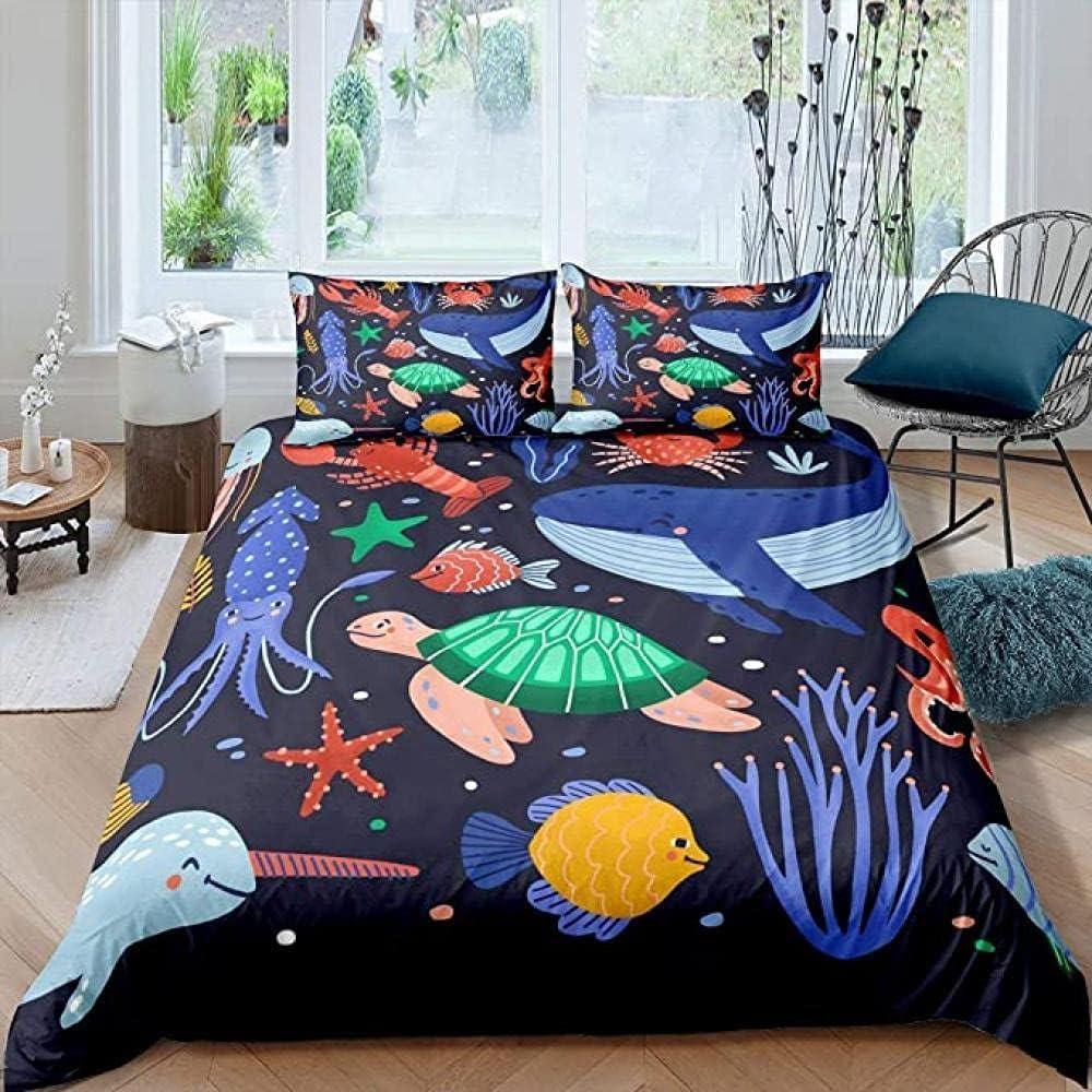 HSBZLH 3Pcs Very popular! mart Sea Turtle Comforter Whale Tenta Cover Octopus Duvet
