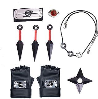I3C 9 Pezzi Set di Anime Naruto Collana Fascia Giocattolo Anello Kunai Guanti Accessori Naruto Cosplay