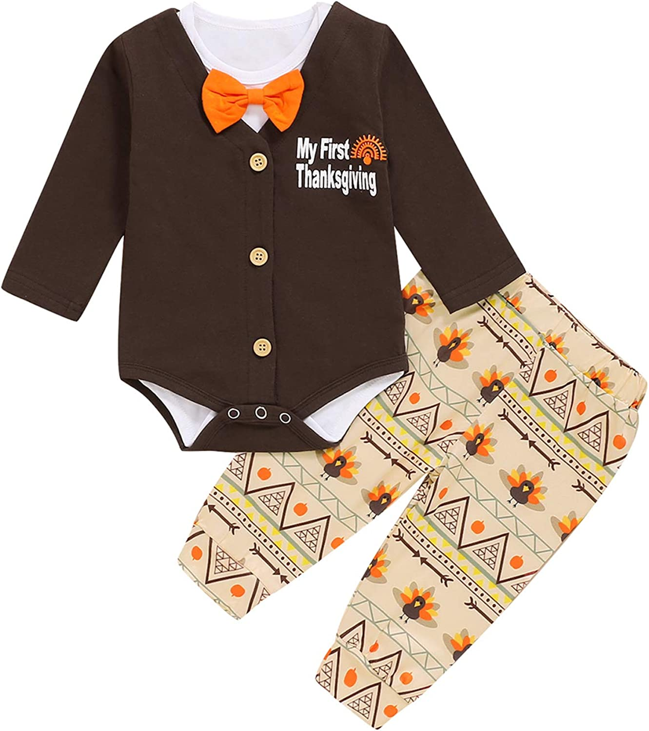 Shalofer Baby Boy My First Thanksgiving Bodysuit Infant Turkey Pant Set and Coat (Brown01,3-6 Months)