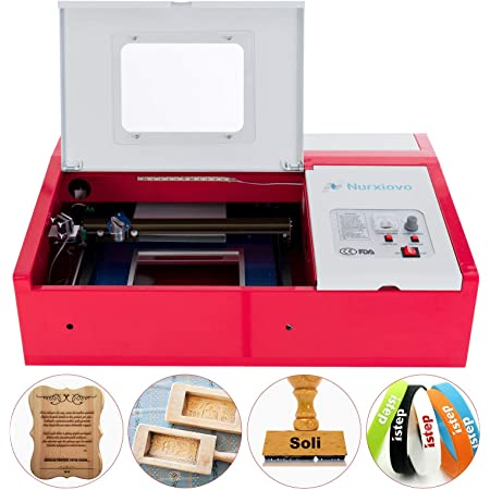 SUNCOO K40 Laser Cutter 12x8 in Desktop DIY 40W CO2 Laser Engraving Machine Glass Wood Leather Acrylic Cutting Machine with Air Exhaust Fan USB Port for Windows System Red