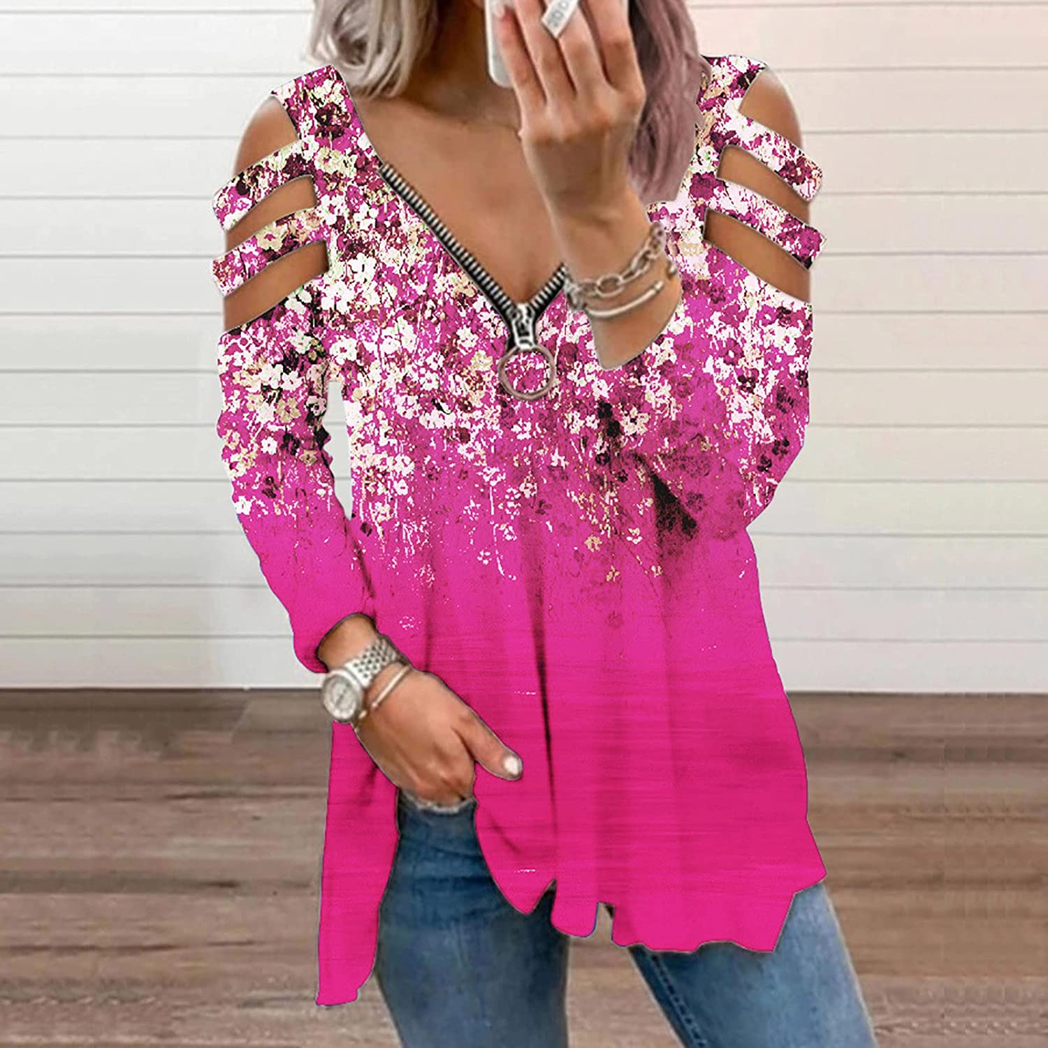 Women's Long Sleeve Cold Shoulder Tops T-Shirt Floral Print Hollow Out Boat Neck Casual Blouses Shirts Tunic