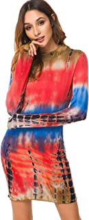 juemliy Long Sleeve Women'sTie DyeDress Knitting Casual Club Party Slim Short Mini Dress