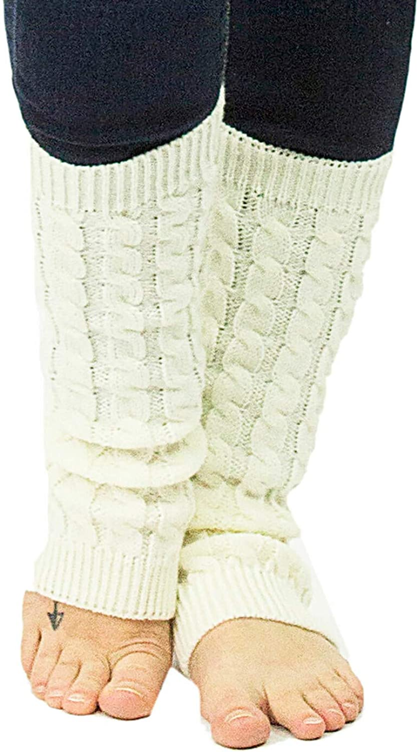 Exotic Identity Leg Warmers Cable Knit Vail Cold Weather Wear for Women - M - Cream