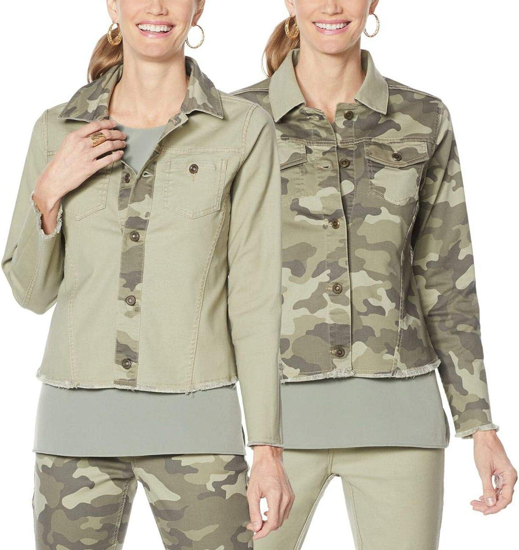 DG2 by Diane Gilman Women's Plus Size Reversible Twill Denim Jacket