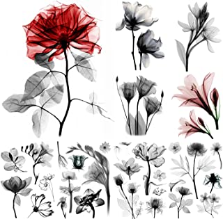 glaryyears 9 Sheets X-Ray Flower Tattoos for Women, Xray Rose Lily Leaf Black Red Designs Temporary Tattoo Stickers on Arm...