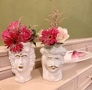Vasi in Ceramica, Teste di Moro Re e Regina, GOLD