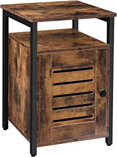 HOOBRO Nightstand, Shutter End Table with Open Shelves and Inner Storage, Square Side Table, Wood Accent Industrial Sofa S...